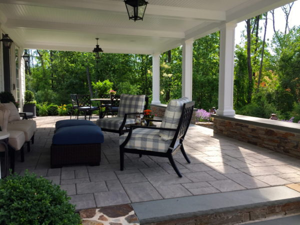 Covered Stone Raised Patio In Basking Ridge, New Jersey By Madlinger Exterior Design LLC