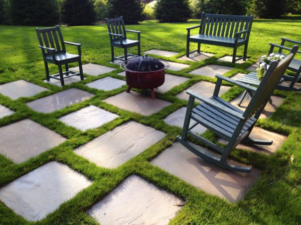Bluestone Patio With Grass Joints In Basking Ridge, New Jersey By Madlinger Exterior Design LLC