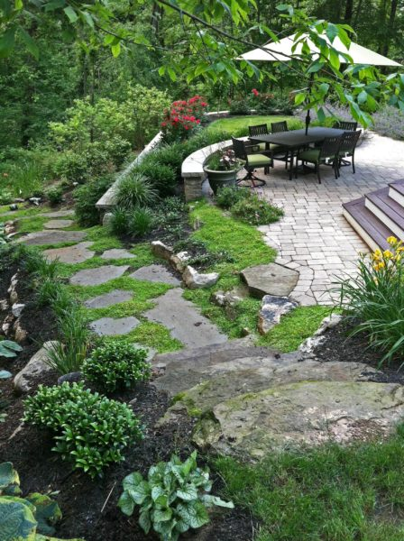 Madlinger Exterior Design Natural style patio surrounded by planting in new jersey Madlinger Exterior Design-min
