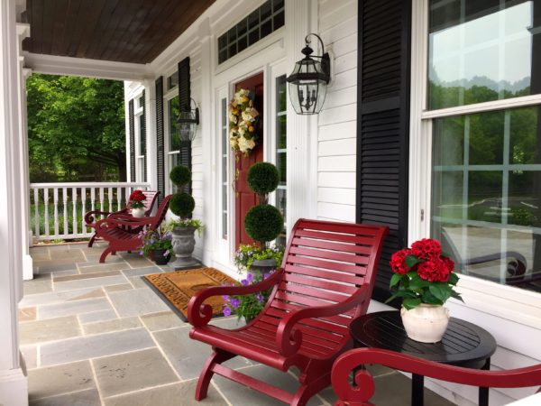Madlinger Exterior Design front porch renovation with bluestone flooring in Basking Ridge New Jersey-min