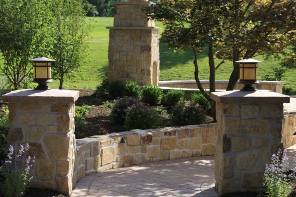 Madlinger Exterior Design stone pillars and fireplace in bridgewater new jersey-min