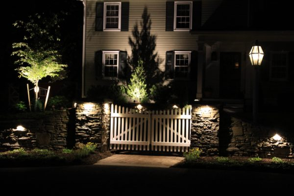 Madlinger Exterior Design stone pillars with picket gate light up with kichler led low voltage lighting in pittstown new jersey-min