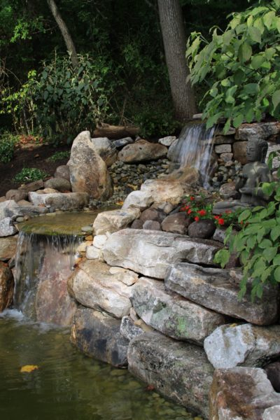 Madlinger Exterior Design two tier boulder water fall and pond-min